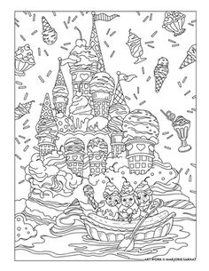 ice cream dream ~ Pampered Pets Adult Coloring Book by Marjorie Sarnat