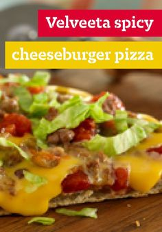 VELVEETA� Spicy Cheeseburger Pizza � Is it a taco? A cheeseburger? A pizza? No�it's a delicious VELVEETA trifecta: all three favorites in one pie. I got this recipe at http://porkrecipe.org/posts/VELVEETA-Spicy-Cheeseburger-Pizza-Is-it-a-56530