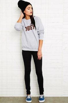 Obey Cheetah Font Sweatshirt in Grey - 20% OFF: SHOPXMAS