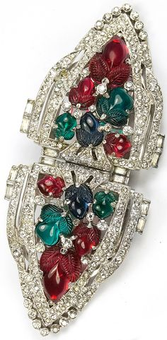 KTF Trifari 'Alfred Philippe' Pair of Large Pave and Tricolour Fruit Salads Dress Clips or Clipmate Pin