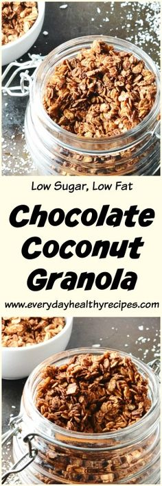 Chocolate Coconut Granola Recipe This Chocolate Coconut Granola Recipe is a super easy to make, low sugar, healthy breakfast option – sprinkle on yogurt, fruit or enjoy with a splash of your favourite milk! #chocolate #chocolaterecipes #cocoa #cacao #dairyfree #easyrecipe #breakfastrecipes #granola #oats #coconutoil #coconut #healthysnacks #lowcalorie #lowsugar #everydayhealthyrecipes