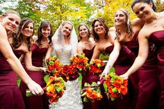 Such a cute bridesmaid photo!  Fall colors were perfect!  Photo by Alexis Stein Photography of Long Island   www.alexissteinphoto.com