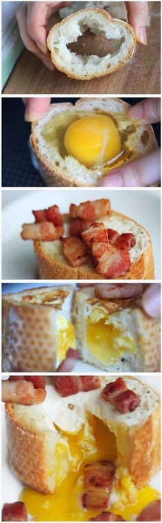Egg Bacon Baguette Breakfast Recipe - so cute for brunch! I think I have tomorrows breakfast all planned out. Breakfast Desayunos, Breakfast Dishes, Breakfast Recipes, Breakfast Ideas, Protein Breakfast, Sausage Breakfast, Perfect Breakfast, Breakfast Casserole, I Love Food