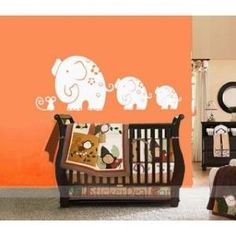 Mom and Baby Elephants Play With Mouse Wall Stickers by walloo