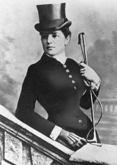 Lady Randolph Churchill (Jennie Jerome - American) in riding habit, ca 1883-85. She shaped her son's career and made connections for him...