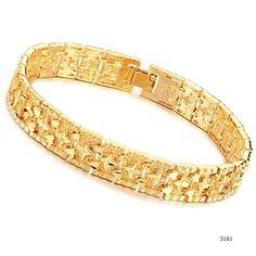 arriaval nova pulseiras de ouro para os homens 18k amarelo pulseira de ouro chapeado 12mm largura casamento moda jóias sol livre ship...