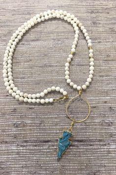 White Magnesite & Turquoise Druze Arrowhead Necklace