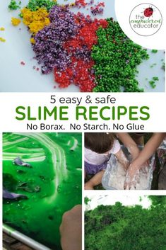 5 Easy Slime Recipes - Non Toxic For Babies And Toddlers An Easy Diy Slime Recip. - 5 Easy Slime Recipes – Non Toxic For Babies And Toddlers An Easy Diy Slime Recipe That Is Taste S - Fun Activities For Kids, Infant Activities, Sensory Activities, Sensory Play, Sensory Bins, Homemade Slime, Diy Slime, Homemade Paint, Easy Slime Recipe