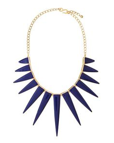 Blue & Gold Spikey Graduated-Triangle Spike Bib Necklace by Kenneth Jay Lane @ Neiman Marcus Last Call $25