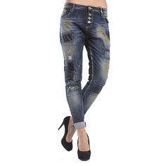 MARYLEY Jeans Boyfriend baggy con toppe DENIM Art. B605/RDD Denim Art, Boyfriend Jeans, Pants, Fashion, Trouser Pants, Moda, Fashion Styles, Women's Pants, Women Pants