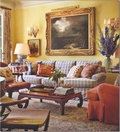 I adore this family room by Michael S. The blue and red fabrics against the yellow walls are fabulous. English Country Decor, French Country Living Room, Country French, Country Style, English Living Rooms, Coastal Country, Formal Living Rooms, Living Room Decor, Bedroom Decor