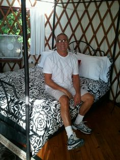 Barry in our yurt.