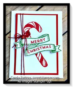 Banners for Christmas by Stampin' Up! delivers gorgeous, classic images for Christmas cards.  Candy Cane!