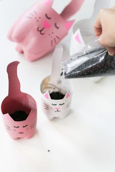 Turn an empty soda bottle into an adorable kitty plant planter for catnip, herbs… – Cactus Plastic Bottle Crafts, Plastic Bottles, Soda Bottle Crafts, Recycled Bottles, Recycled Crafts, Cat Crafts, Crafts To Make, Animal Crafts, Diy For Kids