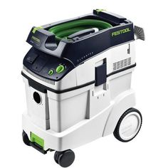 Festool 584084 CT 48 E HEPA Dust Extractor. Automatic Tool Start and adjustable suction with tool triggered or manual on-off switch and infinitely variable suction force, can be used wet or dry. Supplied with 11-1/2 foot long anti-static hose that is flexible and kink-resistant and will minimize shock hazards as well as reduce static cling. Sys-dock and hose garage feature allows for the storage and transport of Festool Systainers (not included) on the top of the flat, low-profile unit....
