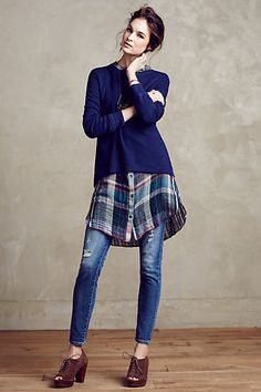 Loving this look via Anthropologie. Plaid shirt is sold separately. Seaboard High-Low Sweatshirt #anthropologie Those booties are pretty cute as well!