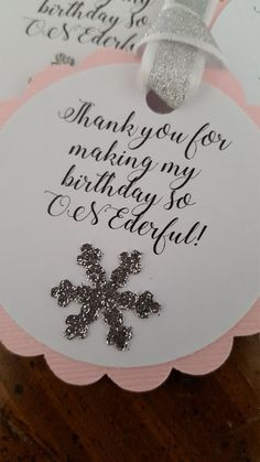 These party favor tags will look gorgeous on your party favors at your little ones Winter ONEderland themed birthday. Each tag is 2.2 inches in diameter. The tags will come with the ribbon as shown in the pics. The ribbon is white with silver glitter. This listing is for 12 pink and silver party favor tags. These tags are also available in blue and silver. They can be found by clicking on the following link. https://www.etsy.com/listing/478609788/winter-onederland-pa...
