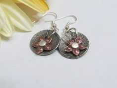 Round Daisy Earrings, Made in Michigan, Handmade, Gifts for her, Gifts under $20