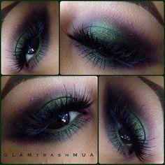 Green eye makeup #glamtrashmakeup