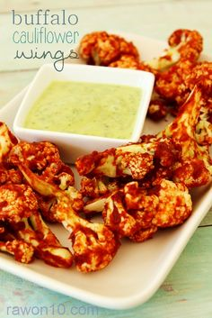 Buffalo Cauliflower Wings with Avo Ranch Dipping Sauce: Easy Affordable Raw Food Recipe