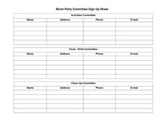 Potluck Sign Up Sheet Template | Sample Block Party Committee Sign Up Sheet    PDF