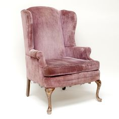 Thiessen wingback chair: Pink velvet wingback chair.