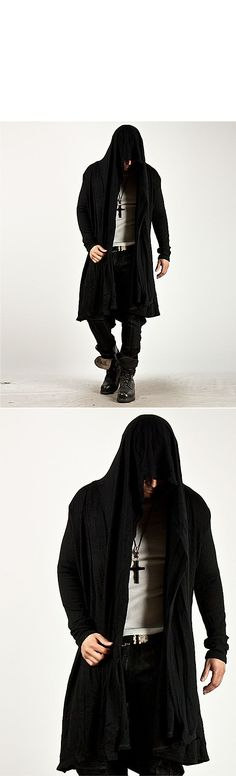 Outerwear - Avant-Garde Unbeatable Style Force Hooded Diabolic Drape Long Cardigan - 34 for only 64.00 !!!