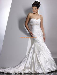 Meerjungfrau Glamouröse Schöne Brautkleider aus Satin mit Schleppe