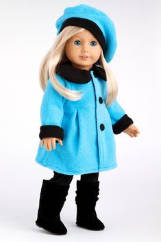 Parisian Stroll - Clothes for 18 inch Doll - Blue Fleece Coat with matching Beret, Black Leggings and Boots