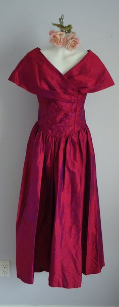 Vintage Laura Ashley Red Silk Evening Dress on Etsy, $110.19 CAD