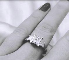 18K White Gold 3 Stone Danhov Tubetto Princess Cut Diamond Engagement Ring  Click for video: http://on.fb.me/1cMTCyA
