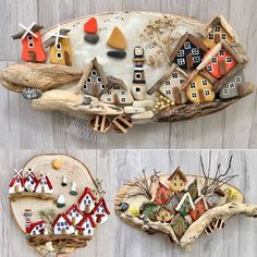 Stone Crafts, Rock Crafts, Diy Home Crafts, Crafts To Do, Crafts For Kids, Arts And Crafts, Christmas Clay, House On The Rock, Driftwood Art