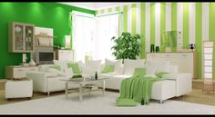 Green bedroom idea - add some stripes or a darker wall