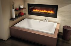 The weather outside is getting chilly! It's the best time to cozy up in a hot and luxurious bath by the fireplace, try our Aiiki drop-in for that streamlined look!