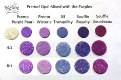 This is going to be one of the most interesting NCT months yet! I'm going to mix families of colors with the new Premo! Accents Opal.  First up, will be the Purples – you will notice that there are purples from the Premo! line, the Sculpey 3 (S3) line and Souffle. I've only mixed