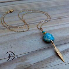 Sea sediment pendant feather necklace Boho by Helenadesignsart