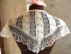 Charming Antique French Embroidered Lace Collar