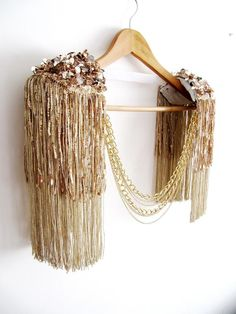 CHRYSOS// Light Gold Epaulettes With Gold Sequin Tassel,Gold Tassel Epaulette With Gold Sequin,Burning Man Festival,Fringe Tassel Epaulette - - Diy Fashion, Fashion Dresses, Photographie Portrait Inspiration, Shoulder Jewelry, Tropical Outfit, Mardi Gras Costumes, Jewelry Illustration, Feather Dress, Jewelry Model