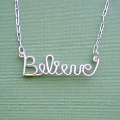 Believe Necklace - (sterling silver wire word) American Cancer Foundation donation