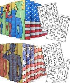 """Patriotic-themed agamographs. Try something new in class this year for Memorial Day or Veterans Day. This agamograph art activity is sure to be the talk of your school. Kids color, cut, fold and follow precise directions to create this contemporary art project! High """"wow"""" factor!"""