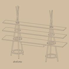 Modular shelving system inspired by nomadic habits; Assaf Israel; TiPi