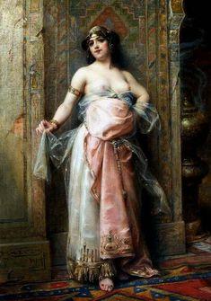 Henri Adrien Tanoux  (French painter,1865-1923)  -  La Belle Esclave du Harem
