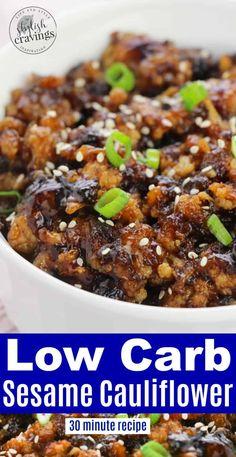 Sesame Cauliflower - Delicious Takeout Alternative! #lowcarbrecipes #cauliflowerrecipes #sesamerecipes #sesamecauliflower #takeoutalternative #chinesefoodrecipes #sesamecauliflowerrecipe #vegetarianrecipes Low Carb Recipes, Vegetarian Recipes, Cooking Recipes, Healthy Recipes, Healthy Foods, Keto Foods, Clean Eating Snacks, Healthy Eating, Sesame Recipes