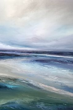 New artwork by British artist Michael Claxton. Original fine art painting of the sea. Semi abstract seascape painting with blue and green hues Abstract Ocean Painting, Seascape Paintings, Abstract Landscape, Landscape Paintings, Art Paintings, Blue Abstract, Artist Painting, Sea Art, Contemporary Paintings