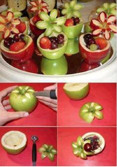 Creative Food. Personal fruit cups, great for parties and cook outs. (Cookie Bowls Fruit)