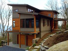 Work has just competed on the Pinkerton Corner project. Standing Stone Builders did an amazing job with construction. We also worked closely with the owner and interior designer, Alchemy Design S… Modern House Design, Modern Interior Design, Home Interior, Exterior Stairs, Exterior Siding, Exterior Paint, Casas Containers, Cabin Homes, Exterior Design