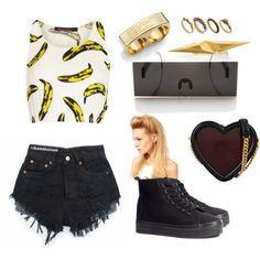 """Bananas!!"" by zerouv on Polyvore: Photo Censorship Sunglasses One Piece Black Bar Novelty 8669"