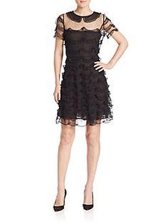 RED Valentino - Organza Tiered-Ruffle Dress