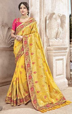cfef5c1c1091 #DesignersAndYou #Yellow #Jacquard_Saree With #Pure_Viscose_Pallu N  #Florescent_Border. This #Boutique_Style