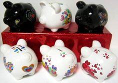 puerquitos de alcancia decorados - Buscar con Google Decoupage, Cute Piggies, Money Box, Peppa Pig, Lily, Pottery, Baby Shower, Crafty, Handmade